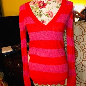AEO Pink/Red Striped V-neck Sweater